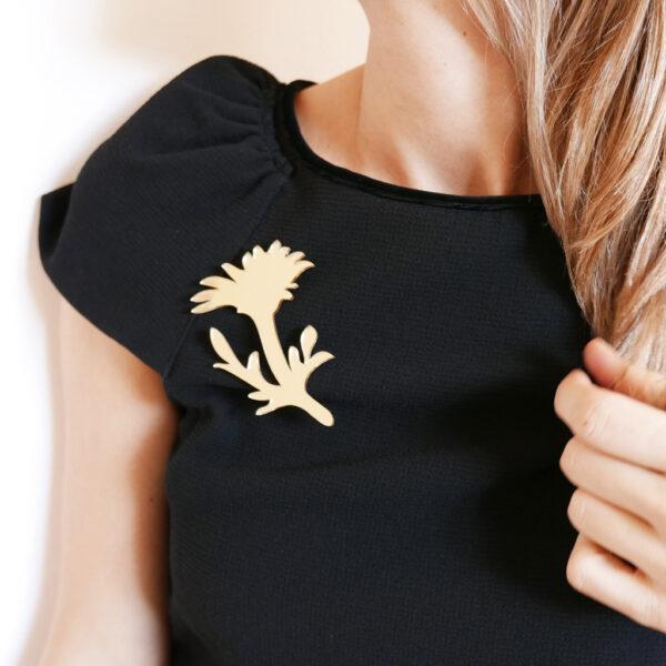 Spilla fiore Margherita oro specchiante   Spilla floreale Daisy   BiCA-Good Morning Design