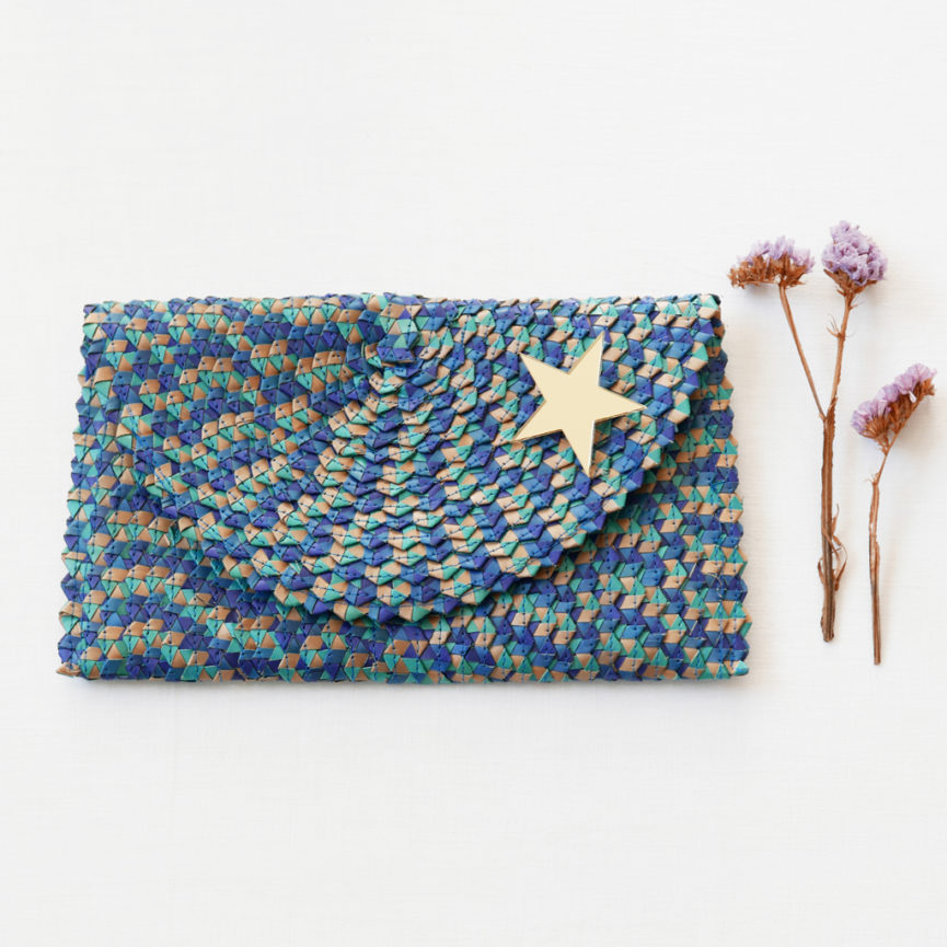 Straw Clutch Bag | Mix Blue | BiCA-Good Morning Design