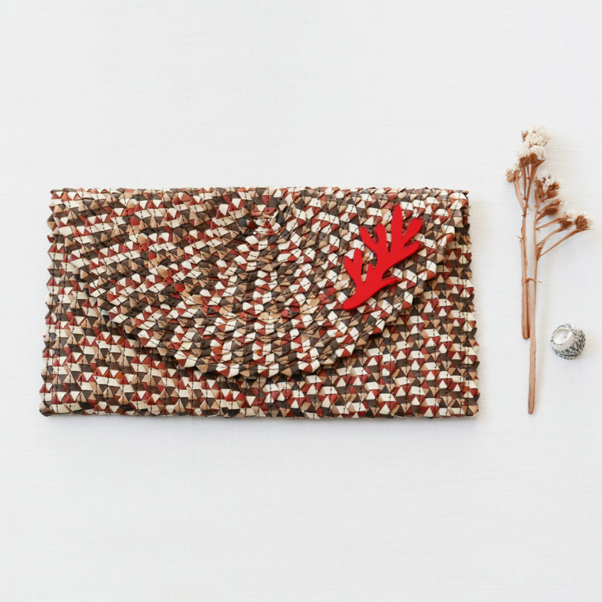 Straw Clutch Bag | Mix Brown | BiCA-Good Morning Design