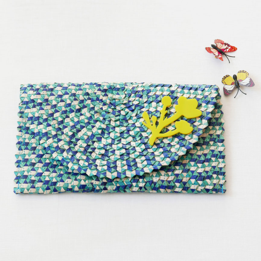 Straw Clutch Bag | Mix Light Blue | BiCA-Good Morning Design