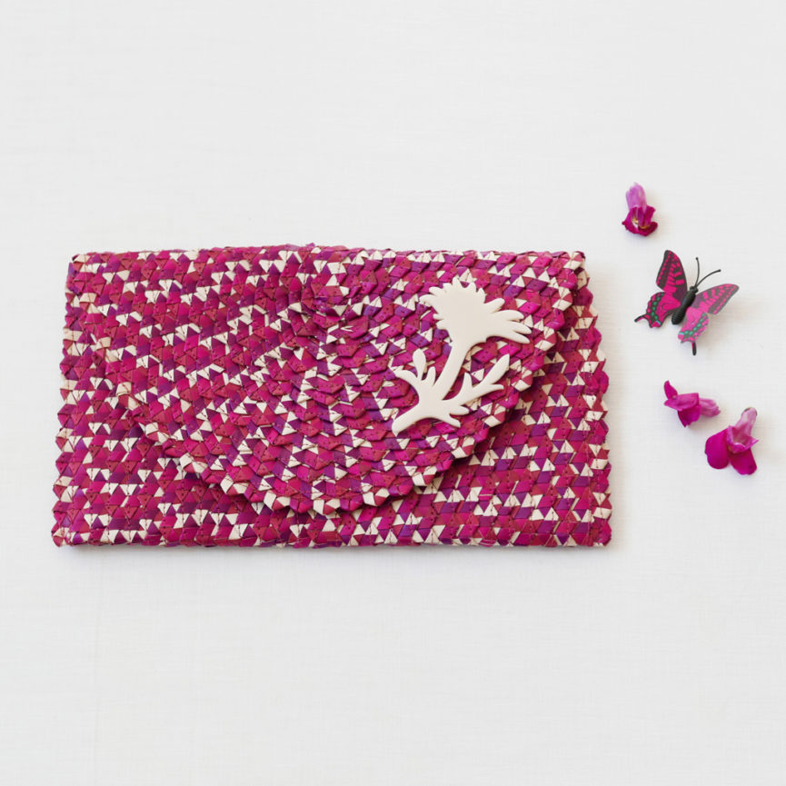 Straw Clutch Bag | Mix Magenta | BiCA-Good Morning Design