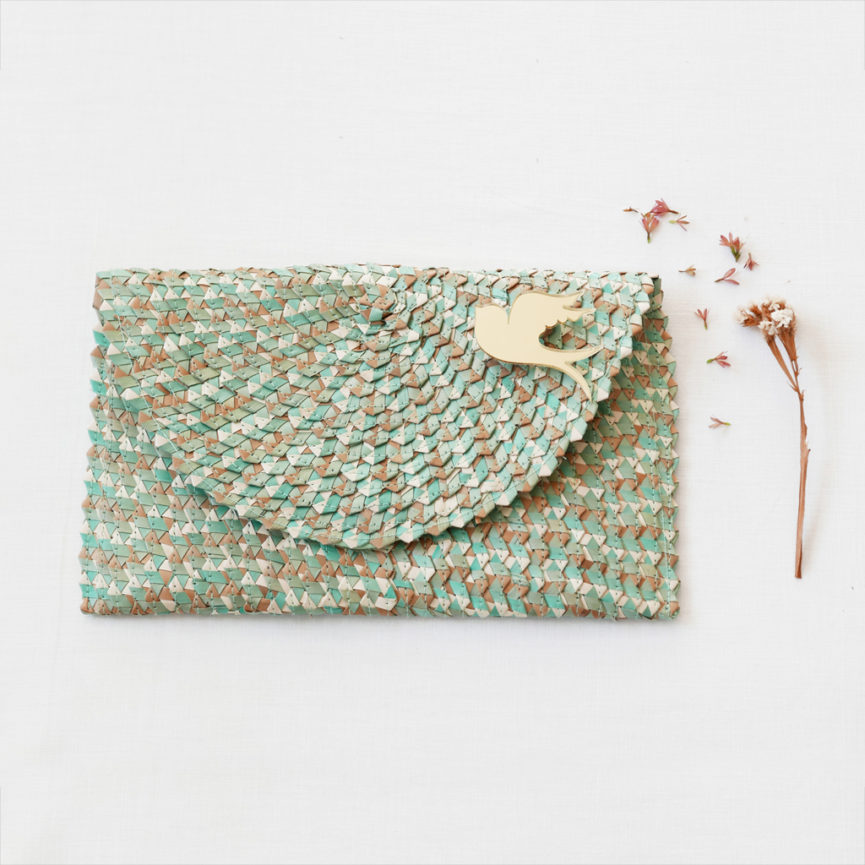 Straw Clutch Bag | Mix Turquoise | BiCA-Good Morning Design