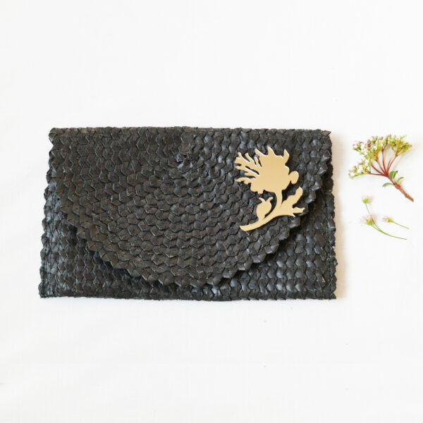 Straw Clutch Bag | Black | BiCA-Good Morning Design