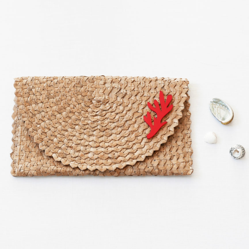 Straw Clutch Bag | Brown | BiCA-Good Morning Design