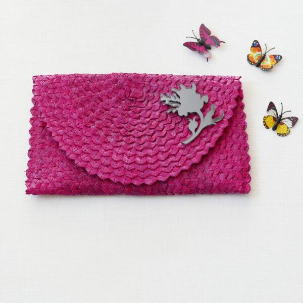 Straw Clutch Bag | Magenta | BiCA-Good Morning Design