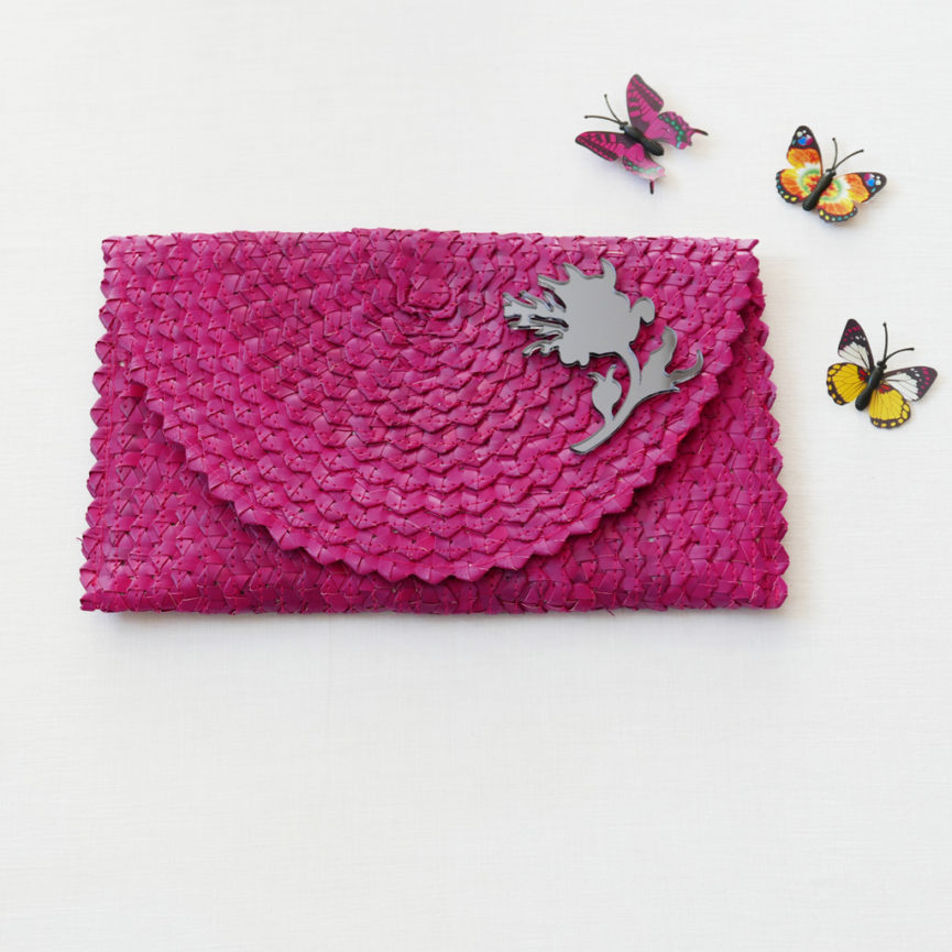 Straw Clutch Bag | Magenta | BiCA-Good Morning Design