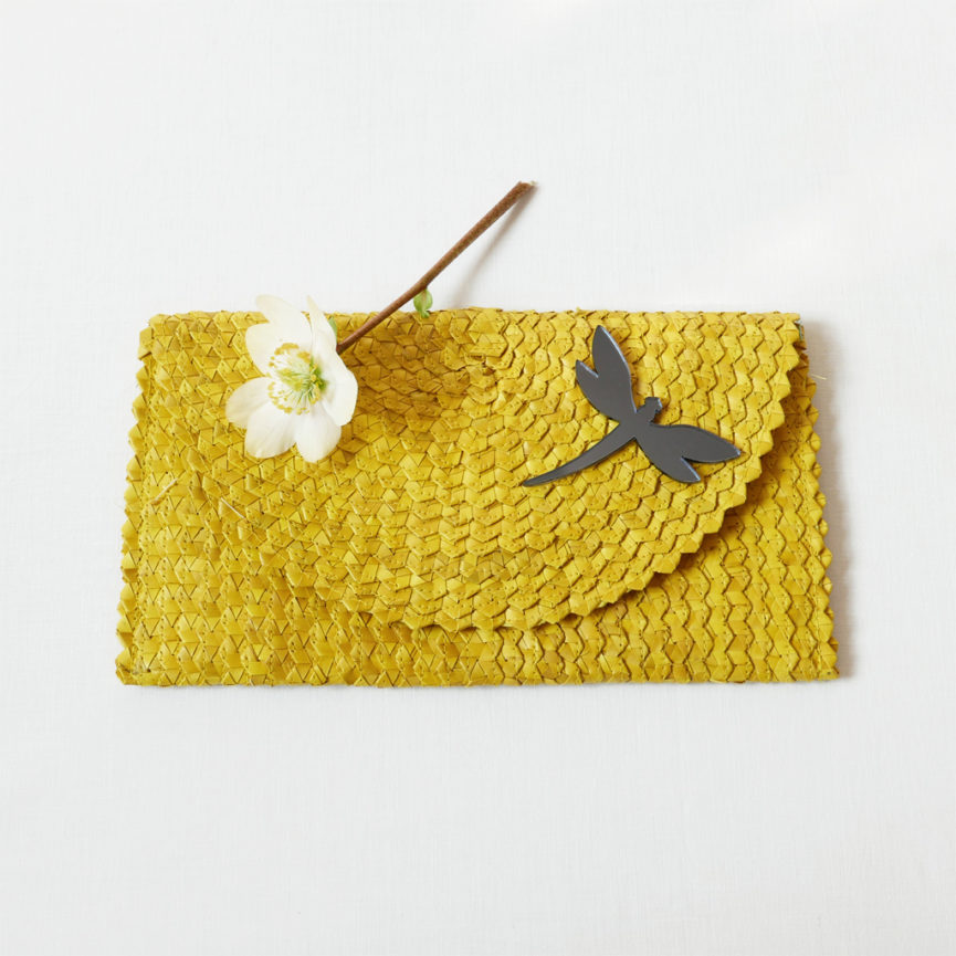 Straw Clutch Bag | Yellow | BiCA-Good Morning Design