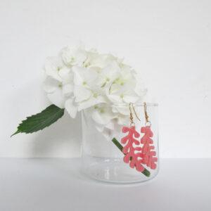 Orecchini pendenti corallo rosa | Gioielli rosa e oro | BiCA-Good Morning Design