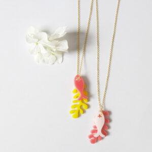 Collana lunga corallo con pesce | collana con pendente | BiCA-Good Morning Design