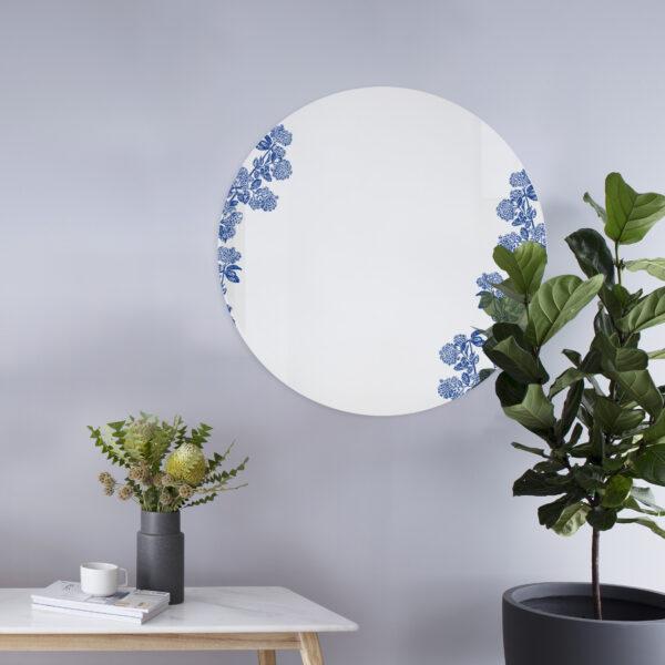 Viburnum blu   Specchio tondo 60 cm   BiCA-Good Morning Design