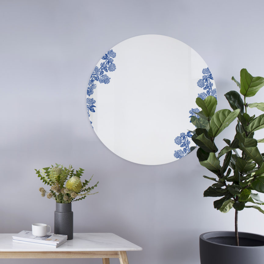 Viburnum blu | Specchio tondo 60 cm | BiCA-Good Morning Design