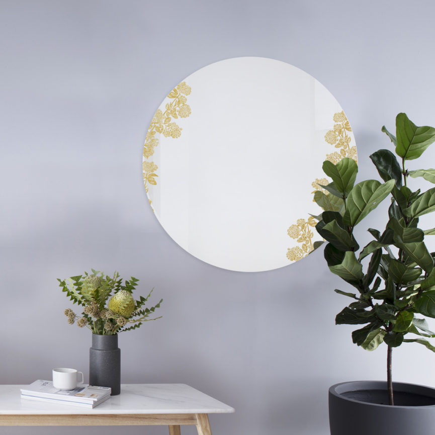 Viburnum oro | Specchio tondo 60 cm | BiCA-Good Morning Design