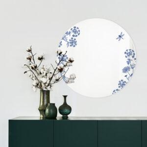 Thapsia blu | Specchio tondo 60 cm | BiCA-Good Morning Design