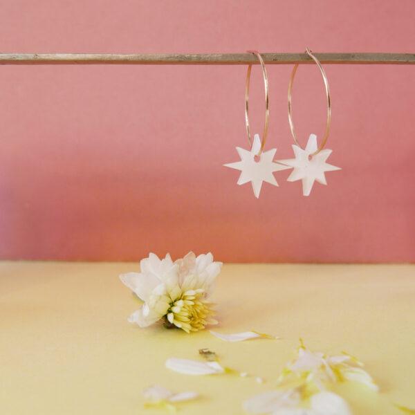 Orecchini Anello con Stelle bianche   Orecchini Cerchio   BiCA-Good Morning Design