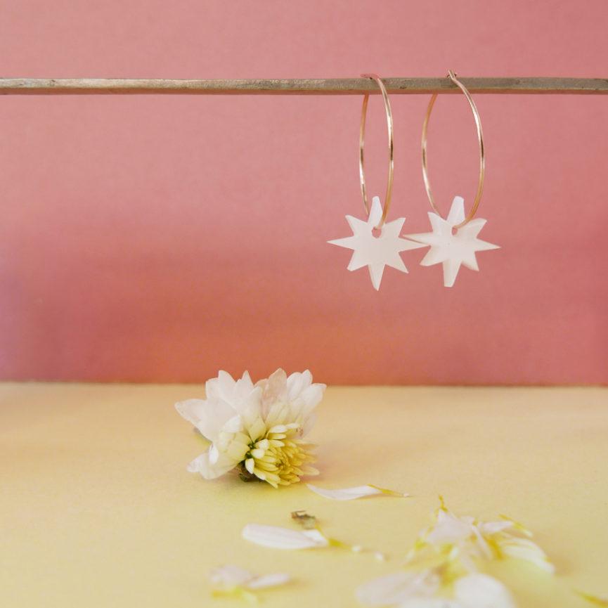Orecchini Anello con Stelle bianche | Orecchini Cerchio | BiCA-Good Morning Design