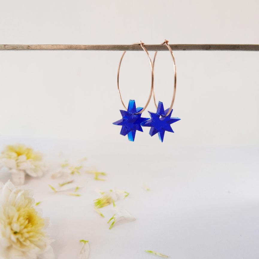 Orecchini Anello con Stelle blu | Orecchini Cerchio | BiCA-Good Morning Design