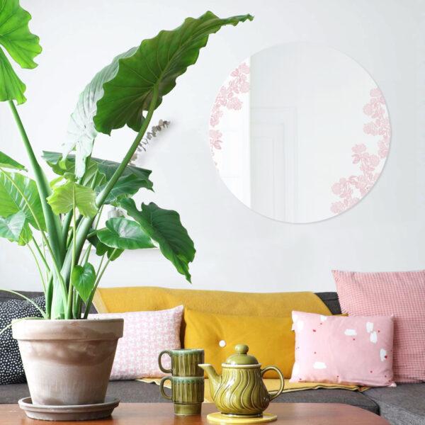 Specchio Viburnum rosa | Specchio tondo 60 cm | BiCA-Good Morning Design