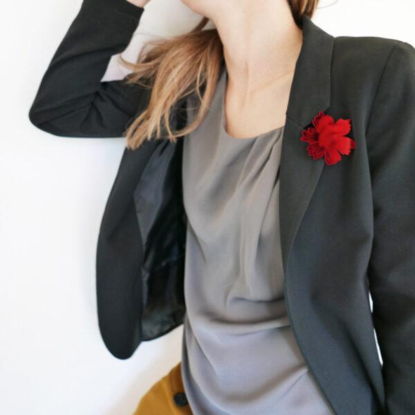 Spilla fiore Anemone rosso specchiante | Spille floreali | BiCA-Good Morning Design