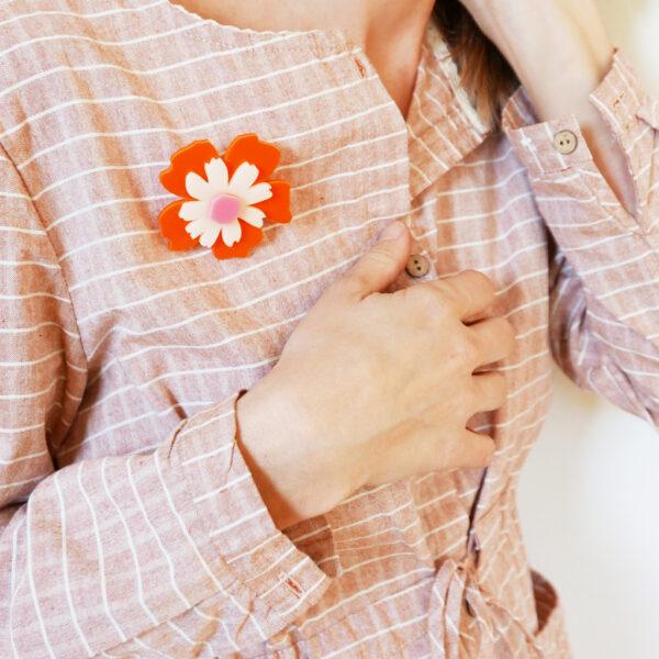 Spilla fiore Anemone arancione avorio e rosa | Spille floreali | BiCA-Good Morning Design