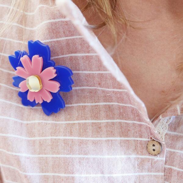 Spilla fiore Anemone blu rosa e oro | Spille floreali | BiCA-Good Morning Design