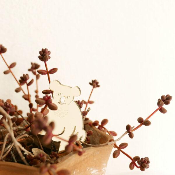 KOALA. Animali esotici per piante in vaso | decorazioni per piante in acrilico oro | BiCA-Good Morning Design