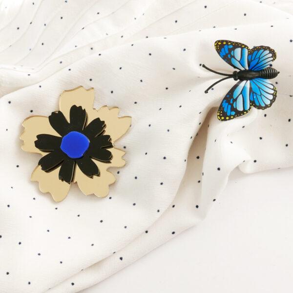 Spilla floreale Anemone oro | spilla fiore acrilico | BiCA-Good Morning Design