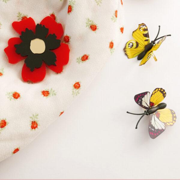 Spilla floreale Anemone rosso   spilla fiore acrilico   BiCA-Good Morning Design