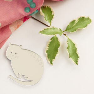 Spilla gatto argento in acrilico | BiCA-Good Morning Design