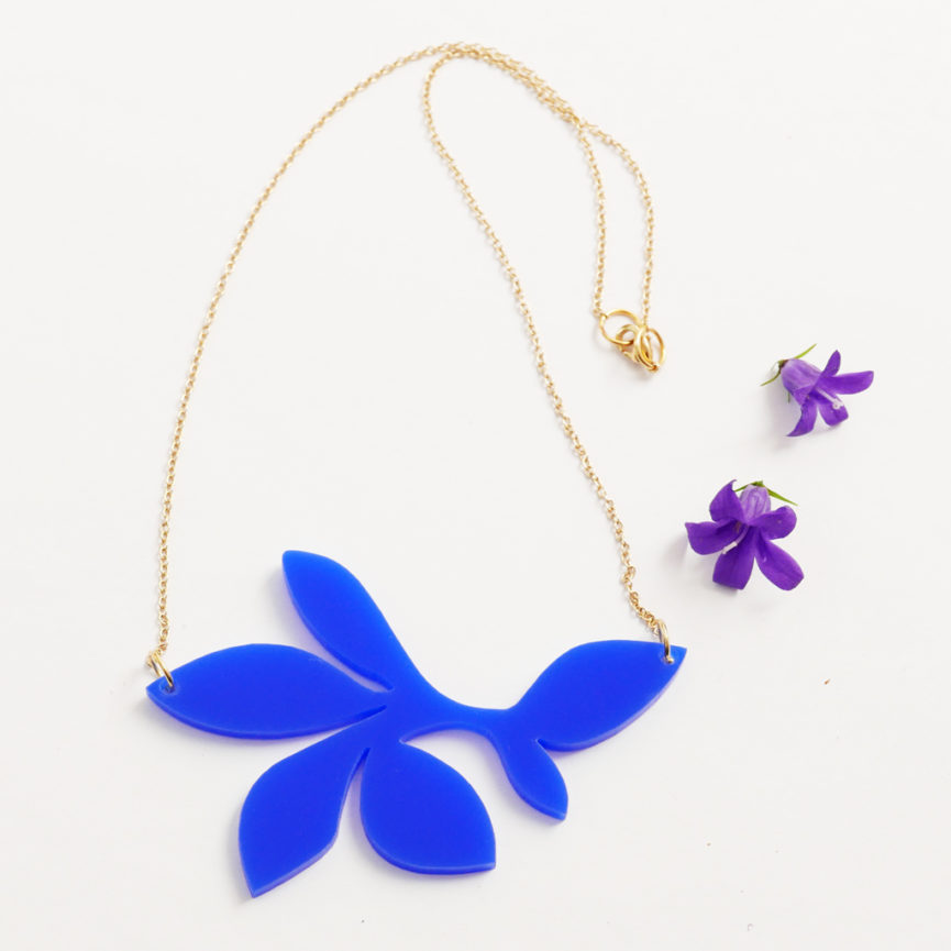 Collana floreale girocollo blu | statement necklace | BiCA-Good Morning Design