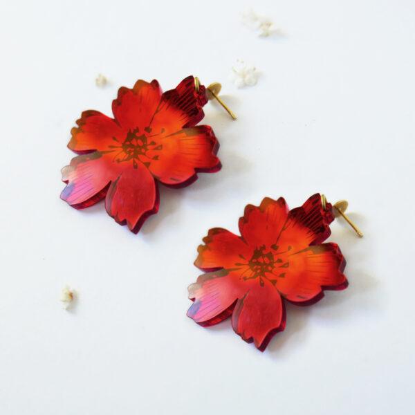Orecchini pendenti floreali rossi   orecchini fiore anemone rosso   BiCA-Good Morning Design