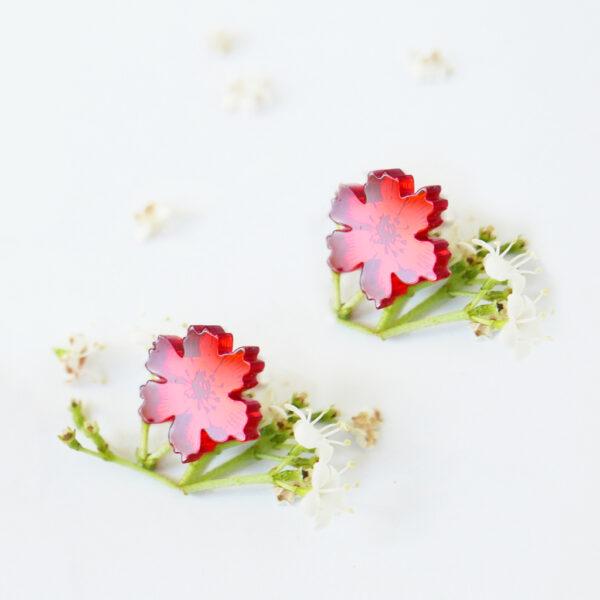 Orecchini floreali anemone rosso   orecchini fiore rossi   BiCA-Good Morning Design