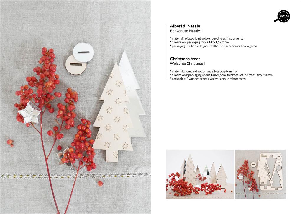 Piccoli Alberi di Natale in legno e argento acrilico | decorazioni natalizie per la casa e la tavola | decorazione Cena di Natale | design italiano | BiCA-Good Morning Design
