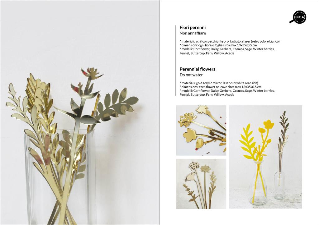 Fiori Perenni in oro acrilico specchiante personalizzabili con messaggi e scritte | fiori decorativi | idee regalo eventi, feste, matrimonio | BiCA-Good Morning Design