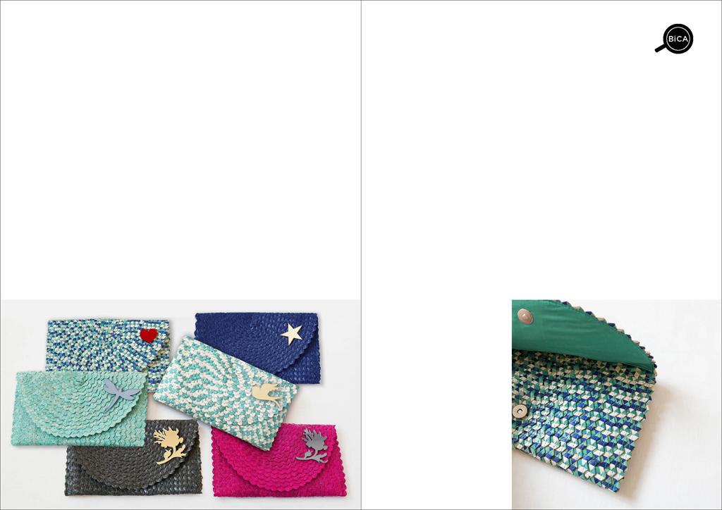 Borsa clutch colorata in paglia intrecciata | straw clutch bag | borse con spilla | BiCA-Good Morning Design