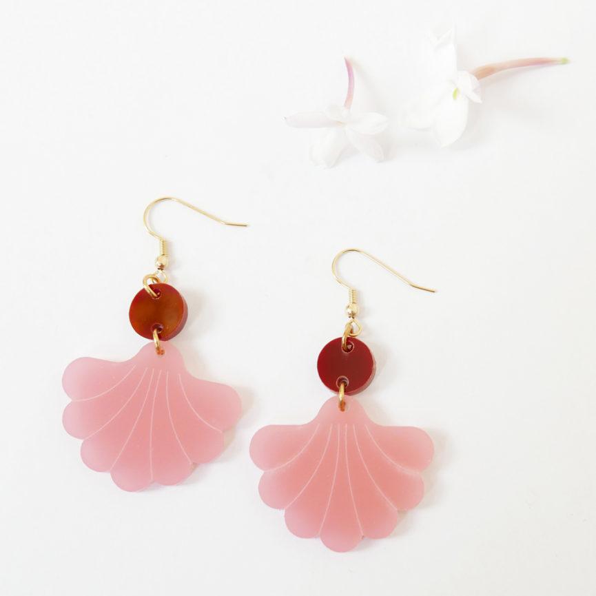 orecchini pendenti Ninfa rosa e rosso scuro   BiCA-Good Morning Design