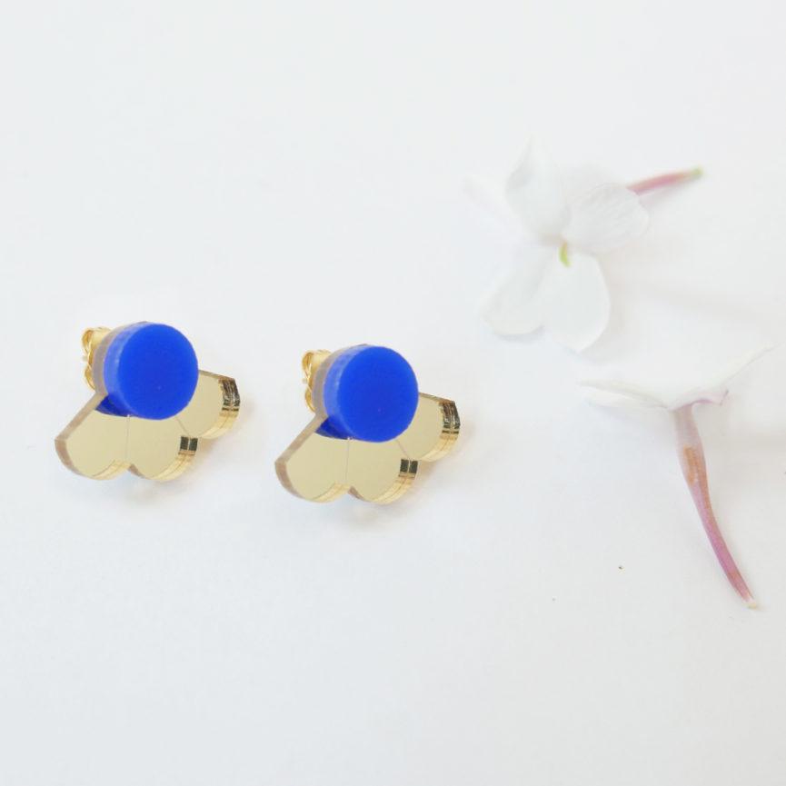 Small Fan orecchini geometrici a ventaglio oro e blu | orecchini a perno geometrici | BiCA-Good Morning Design