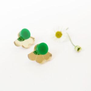 Small Fan orecchini geometrici a ventaglio oro e verde | orecchini a perno geometrici | BiCA-Good Morning Design