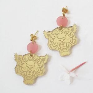 TIGRE orecchini pendenti rosa e oro | BiCA-Good Morning Design
