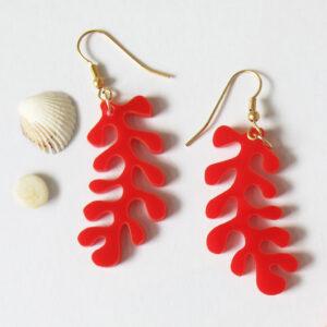Orecchini Corallo rosso | Orecchini pendenti marini | BiCA-Good Morning Design