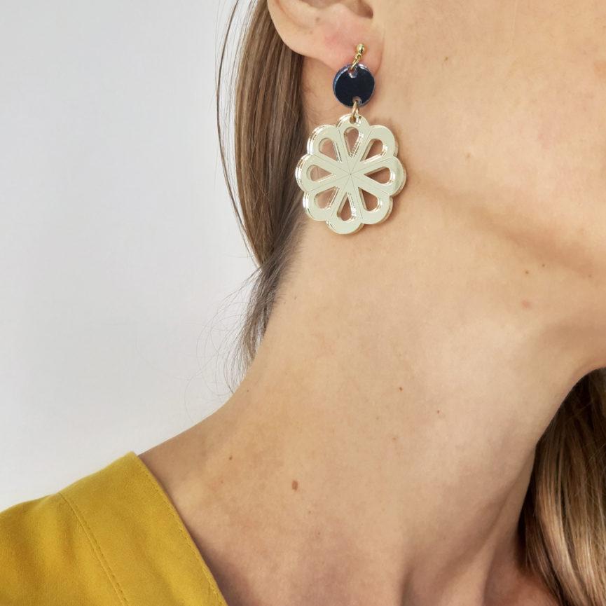 Taranta orecchini pendenti oro e argento scuro | BiCA-Good Morning Design