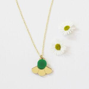 Small Fan Collana geometrica dorata girocollo con ciondolo oro e verde | BiCA-Good Morning Design