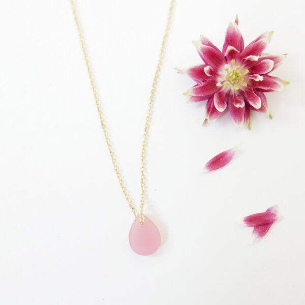 Drop | Collana dorata girocollo con goccia rosa | BiCA-Good Morning Design