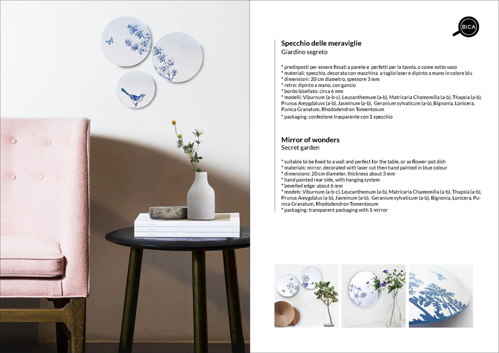 Specchi Giardino Segreto | specchio tondo decorato di design italiano | specchi senza cornice | BiCA-Good Morning Design