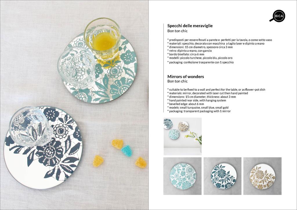 Specchi Bon Ton Chic | specchio tondo decorato di design italiano | specchi per la tavola e matrimoni | BiCA-Good Morning Design