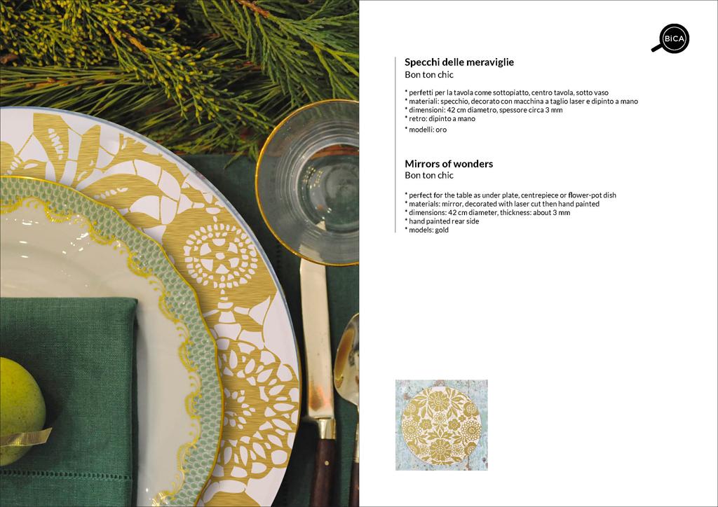 Specchio oro Bon Ton Chic | specchio tondo decorato di design italiano | specchi per la tavola e matrimoni | BiCA-Good Morning Design