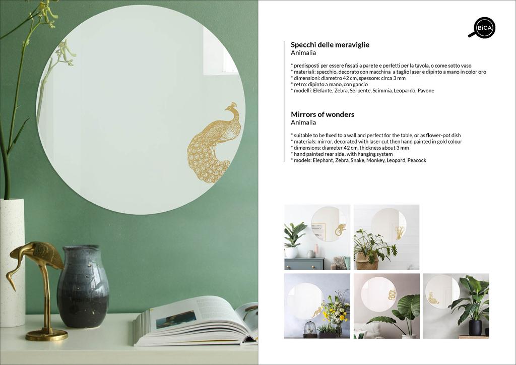 Animalia Specchi grandi | specchio tondo decorato con pavone, elefate, zebra, serpente, leopardo, scimmia di design italiano | specchi decorati  | BiCA-Good Morning Design