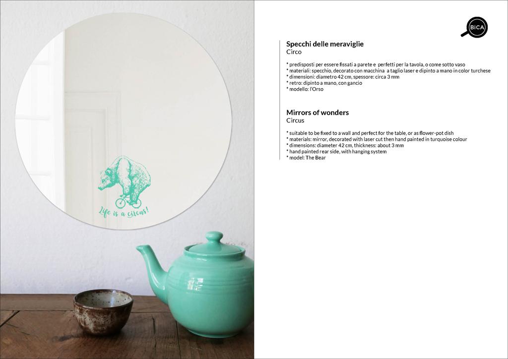 Specchio grande Circo con scritte, personalizzabili | specchio tondo decorato di design italiano | specchi per regali originali bambini, battesimi ed eventi | BiCA-Good Morning Design