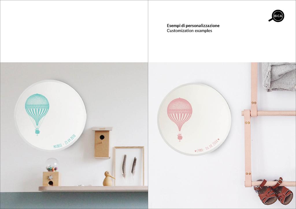 Specchi Benvenuto Custom con scritte, personalizzabili | specchio tondo decorato di design italiano | specchi per regali originali bambini, battesimi ed eventi | BiCA-Good Morning Design