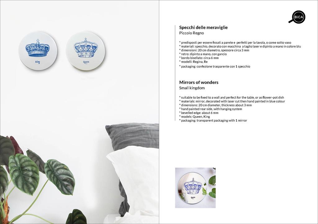 Specchi RE e Regina | Piccolo Regno con scritte, personalizzabili | specchio tondo decorato di design italiano | specchi decorati  | BiCA-Good Morning Design