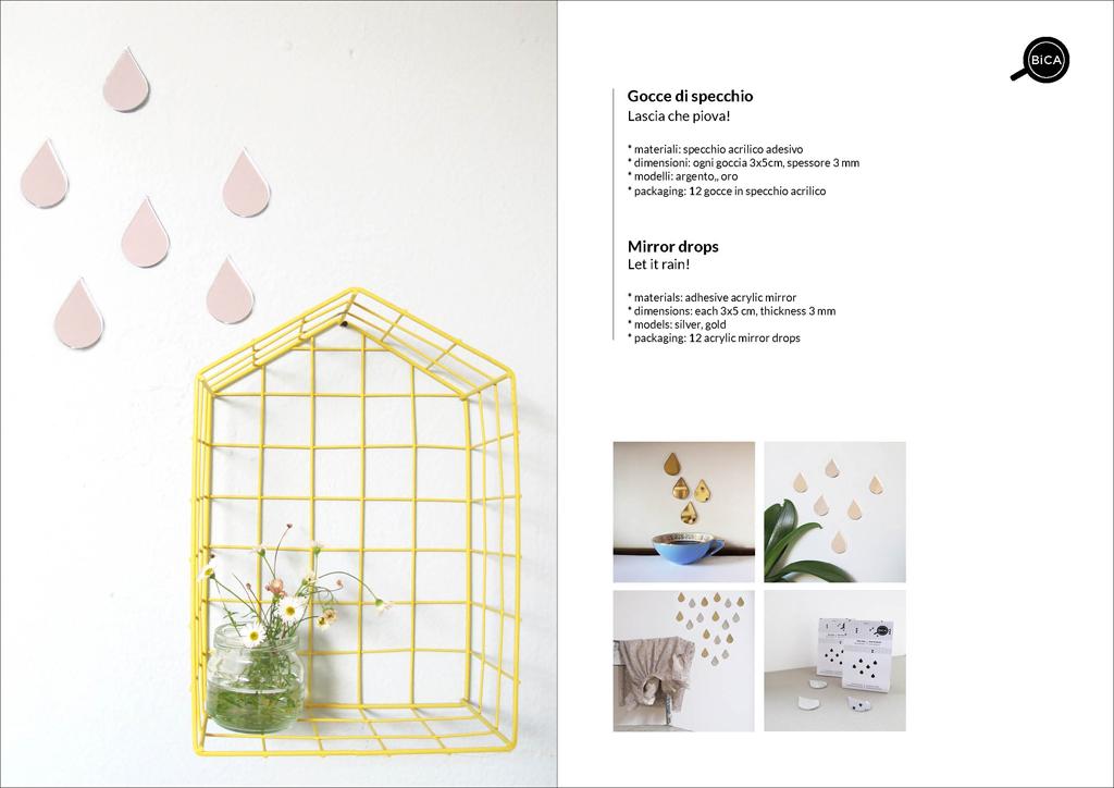 Gocce di Specchio | Specchi decorativi adesivi per pareti | specchi decoro casa e camera bambini | BiCA-Good Morning Design